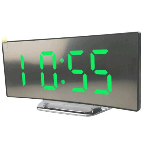 Night Alarm Clock Digital LED Display Operated Mirror