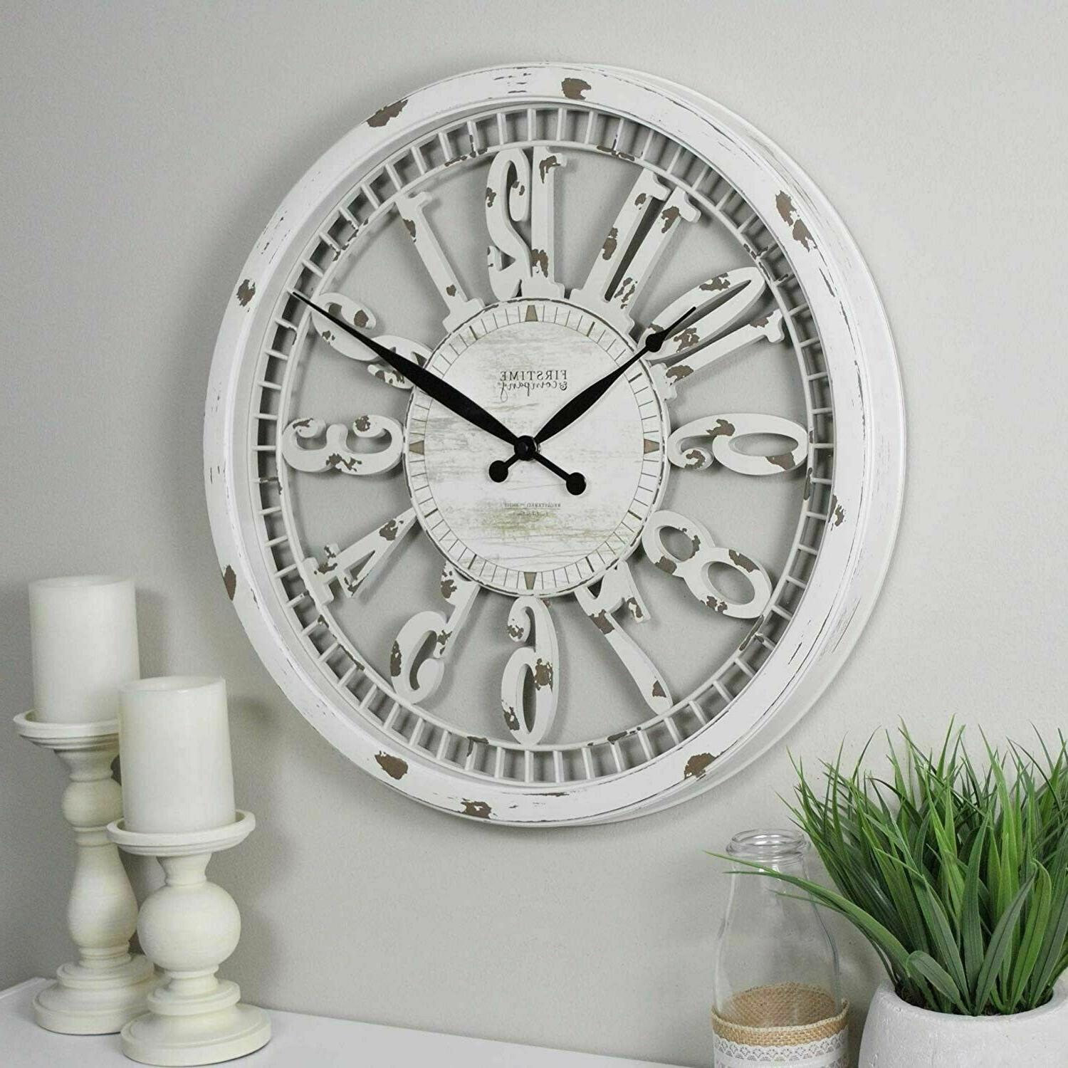 """20""""Clock Wall Antique Distressed White Shabby Chic Rustic Fa"""