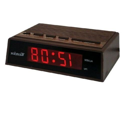 22690 retro wood grain led alarm clock