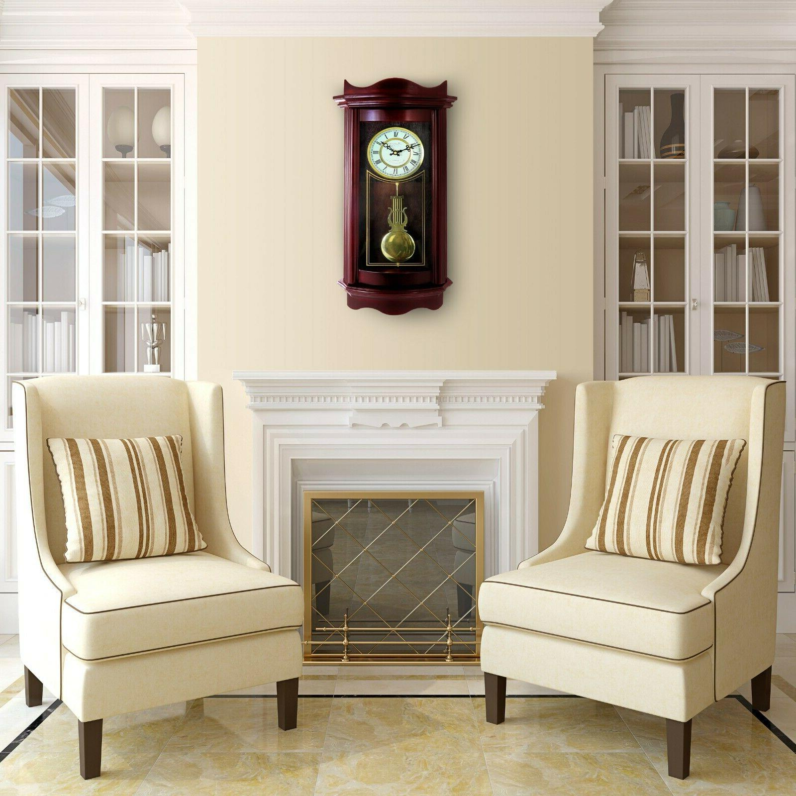 "Bedford 25"" Grandfather Cherry Wood Wall Clock"
