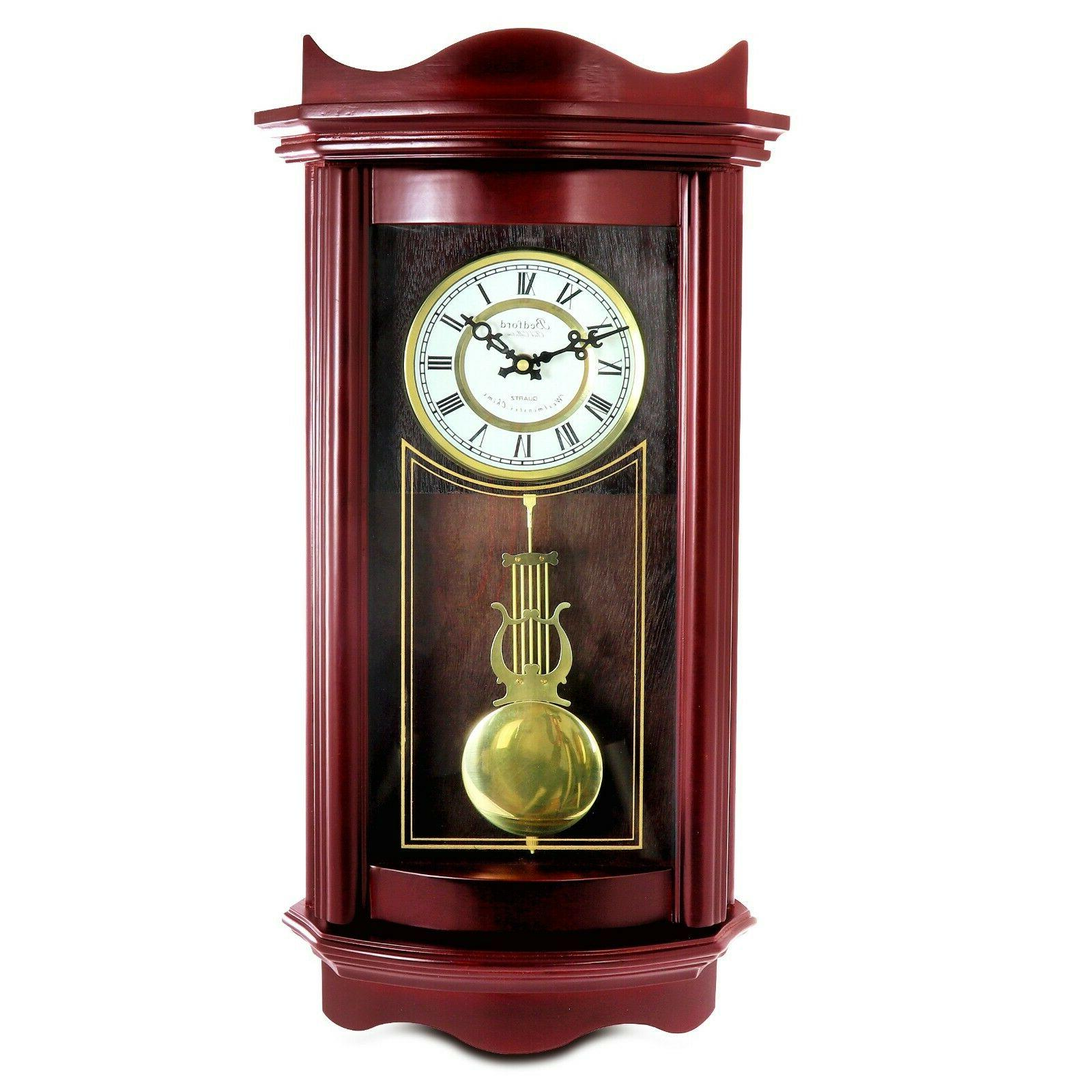 "Bedford 25"" Cherry Wood Clock Chimes"