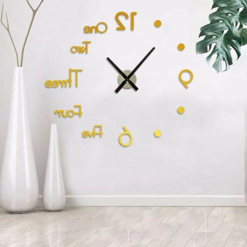 3D Acrylic Large Mirror Sticker Clock Decor S