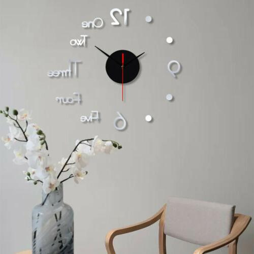3D Large Mirror Sticker Clock Home Decor S