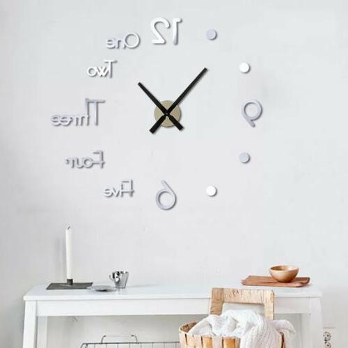 3D Clock Mirror Acrylic DIY Quartz Decor