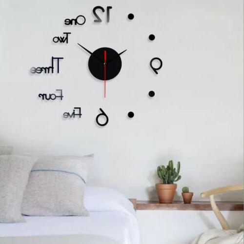 3D Mirror Sticker DIY Wall Clock Home