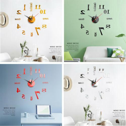 3D Wall Clocks Home Decor Room Office Modern Mirror Design N