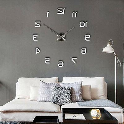 3d diy large frameless wall clock mirror
