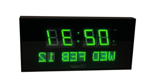 Diastar Big Oversized Digital LED Calendar Clock with Day an