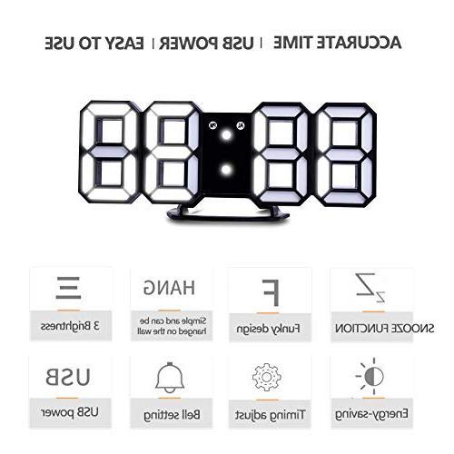 EVILTO Alarm Clock+ Charging Plugs,Modern Light LED for Wall, Bedside, Desk. Design