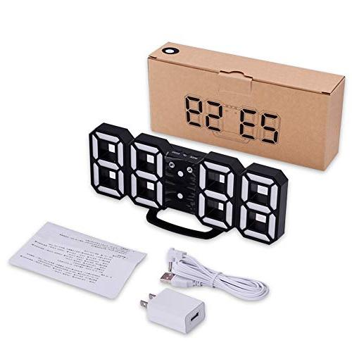 EVILTO 3D Clock+ Light Best Decorative LED Number Bedside, Modern Design Clock (White/Black)