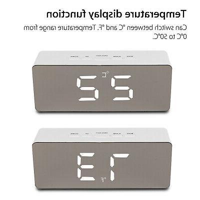 Alarm Clock LED Display Mirror USB Night