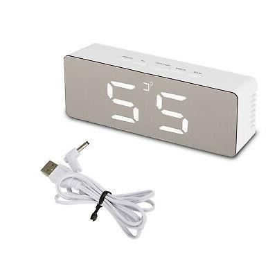 Alarm LED Display Mirror USB Night