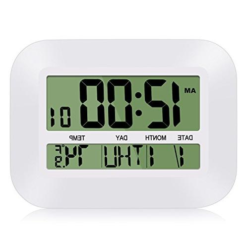 HeQiao 12 Clock Large Alarm w/Temperature Calendar for Home Office