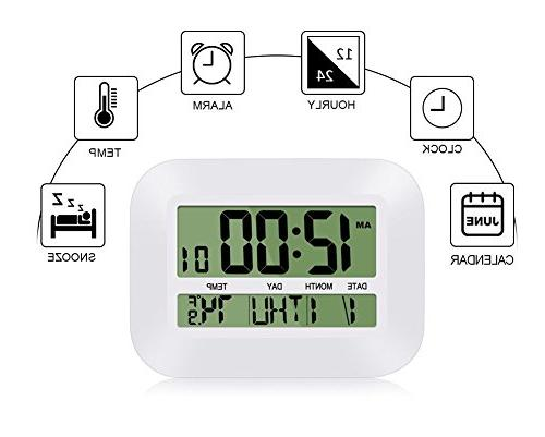 HeQiao Silent 12 Wall Clock Operated Simple Large Alarm w/Temperature for Home