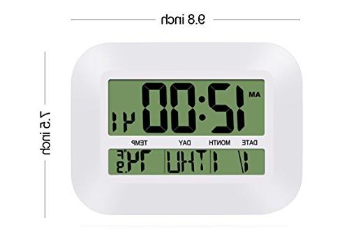 HeQiao 12 Inch Wall Clock Large Alarm w/Temperature Calendar for Home Office