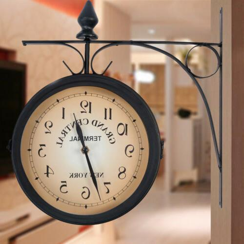 Retro Antique Double Sided Wall Clock Hanging Outdoor Statio