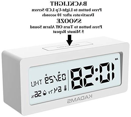 KADAMS Battery Clock Snooze, Calendar Temperature and Humidity, Battery Indicator, Travel for Shelf - White