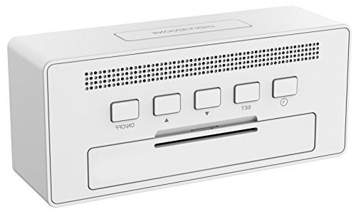 KADAMS Digital Alarm Clock Snooze, Calendar Month Date Day, Temperature and Humidity, Battery Indicator, for White