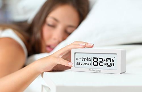 KADAMS Battery Digital Alarm Clock Calendar Temperature Humidity, Battery Indicator, Small Portable Travel for Shelf Table - White