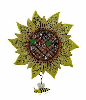 bee sunny sunflower wall clock