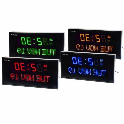Big Large Clock Digital LED Calendar with Day & Date for She