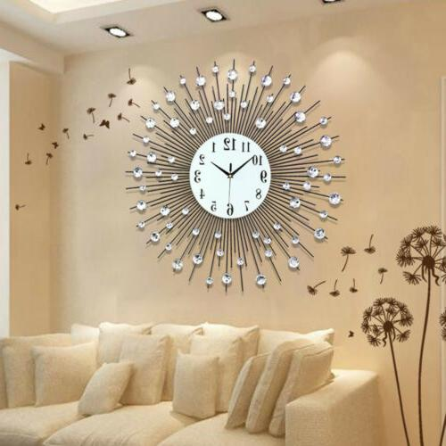 Modern Large Luxury Art Round Diamond Wall Clock Home Living