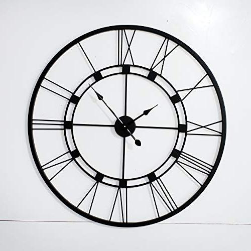 black live roman wall clock