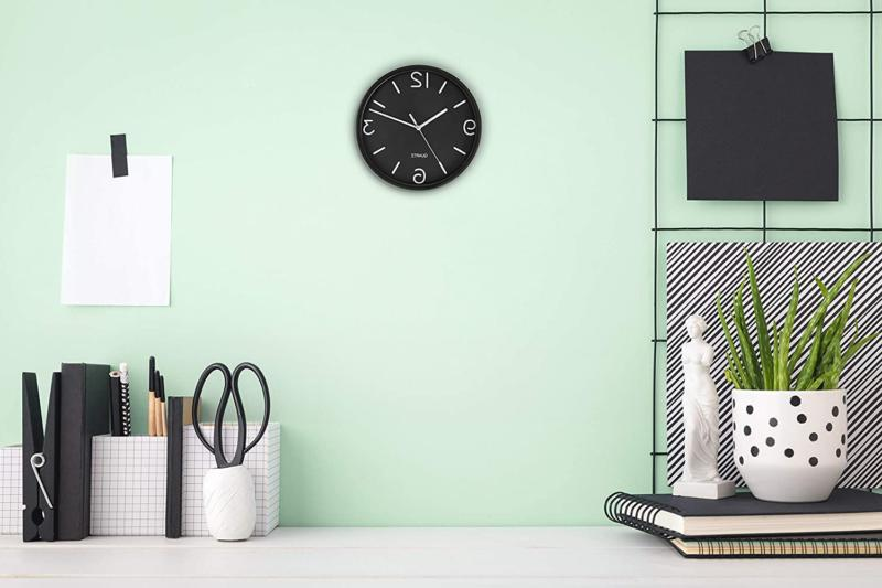Bernhard Black Wall Clock Non Ticking Quartz Oper