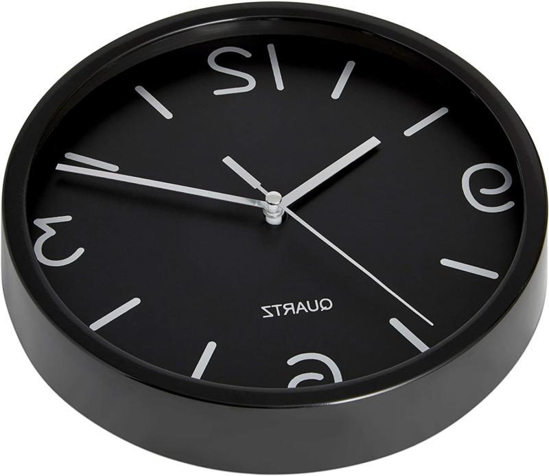 Bernhard Products Black Clock 8 Inch Silent Non Ticking Quartz Battery Oper