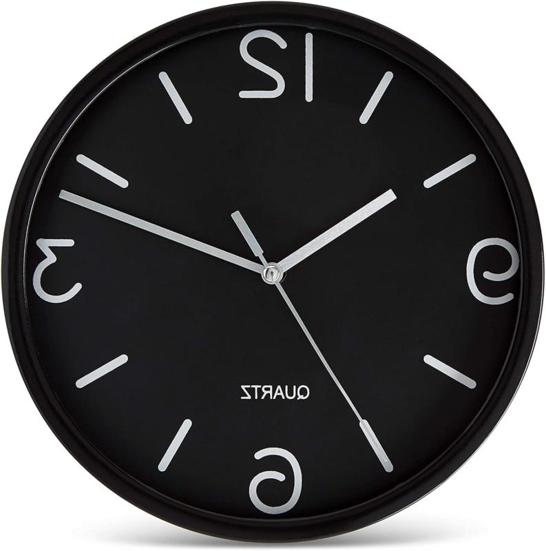 black wall clock 8 inch silent non