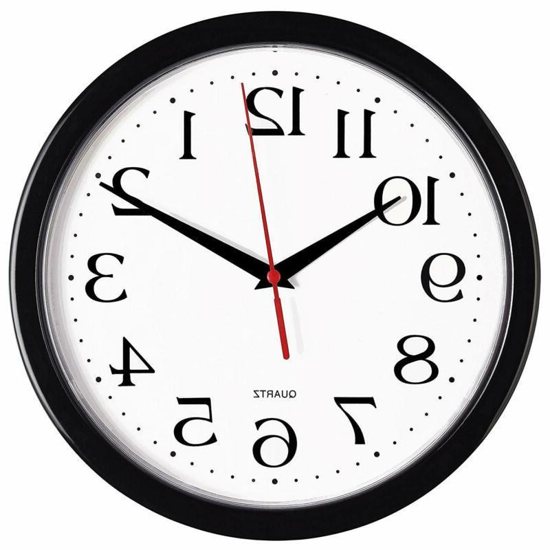 black wall clock silent non ticking 10