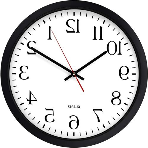 Bernhard Products Black Wall Clock, Silent Non Ticking - 16