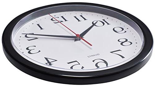 Bernhard Products - Black Wall Clocks, Pack Silent Non Quartz Battery Operated Inch Read Home/Office/School Clock
