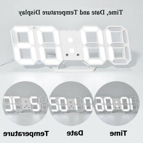 Large LCD 3D LED Wall/Desk Clock 12/24 Hour Snooze USA