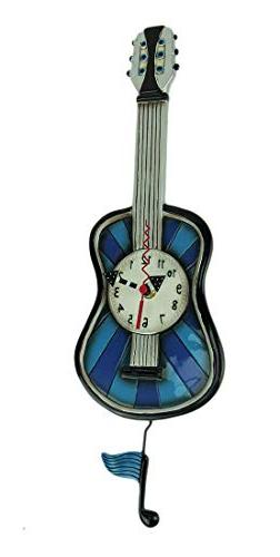 Allen Designs Blue Tunes Guitar Hand Painted Pendulum Wall C