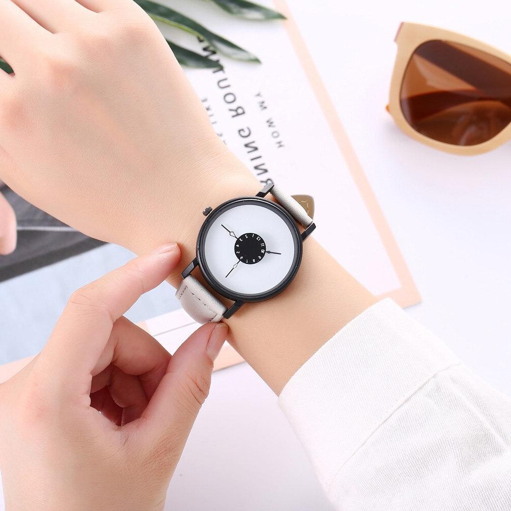 Vansvar Brand 2018 Simple Leather <font><b>Big</b></font> Dial Quartz Wrist