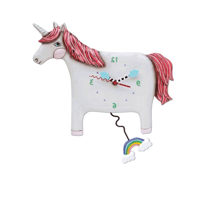 buttercup unicorn pendulum wall clock