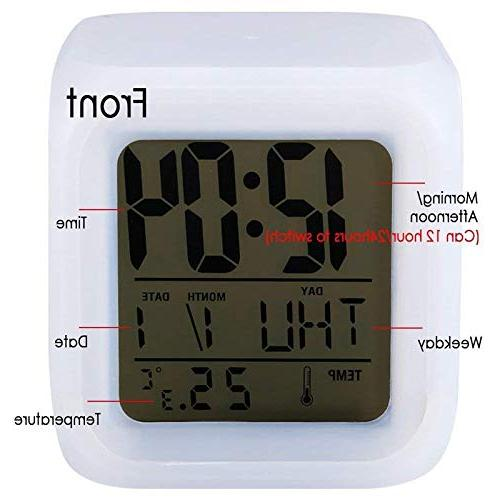 7Colors LED Digital Night LCD Clock Home Horse Grazing on
