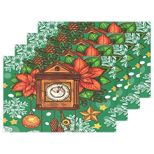 christmas holidays clock placemats dining