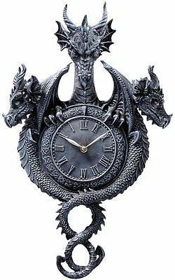 CL3351 Past, Present, Future Sculptural Dragon Wall Clock -
