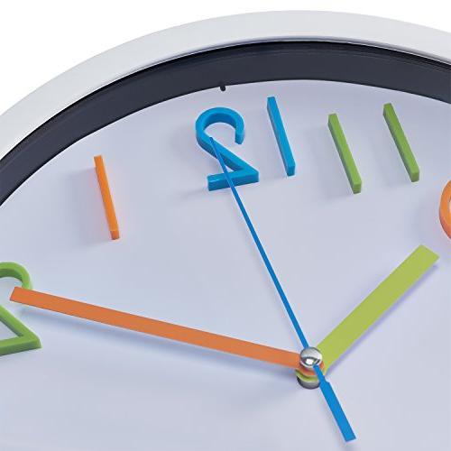 Bernhard Wall Clock Inch Silent Non Quartz Battery Wall Clock, Easy to 3D White