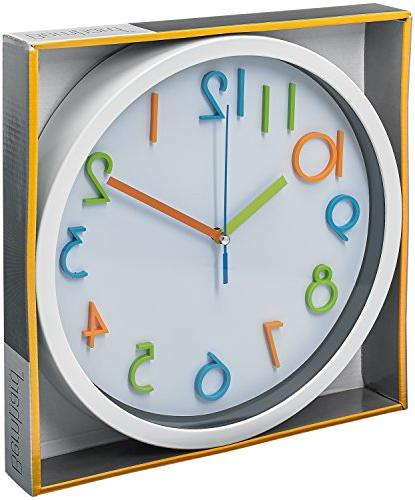 Bernhard Products Colorful Wall Clock Silent Quality Quartz Wall Clock, 3D Numbers, White Frame