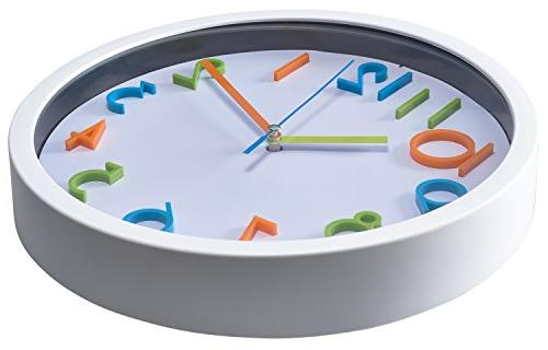 Bernhard Wall Silent Non Ticking Quartz Battery Operated Clock, Easy 3D Numbers, Frame
