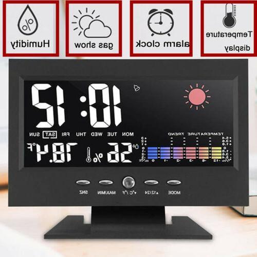 desk digital alarm clock weather thermometer led