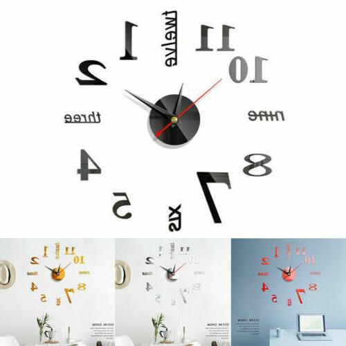 Large Wall Clocks Big Watch 3D Clock Stickers Mirror Design