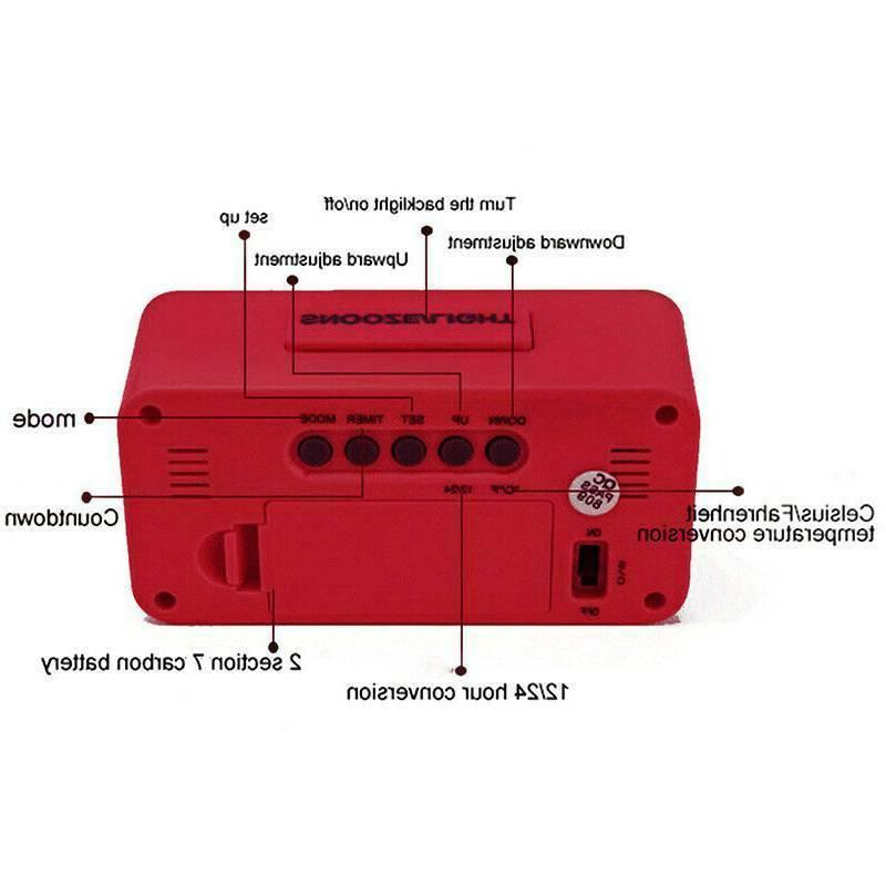 Electronic LED Digital Alarm Clock Calendar Battery Operated