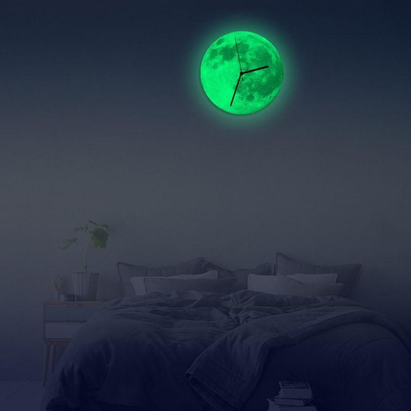 Glowing Wall Clock Moon Moonlight Luminous In The Dark Clocks Home