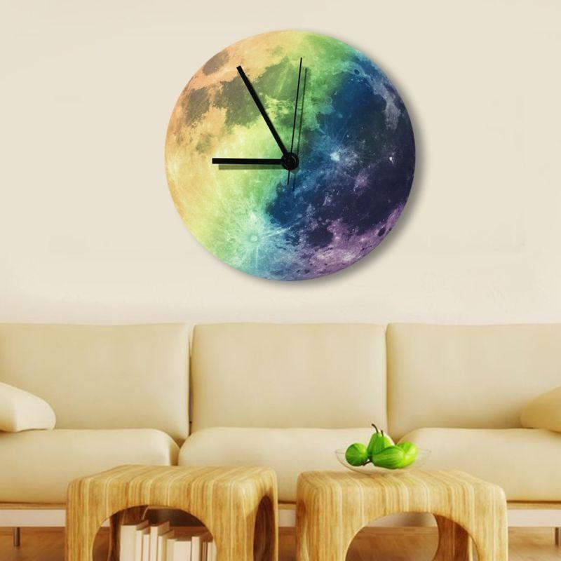 glowing wall clock moon moonlight led night
