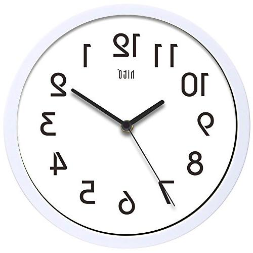 hito Modern Colorful Silent Non-ticking Wall Clock, White