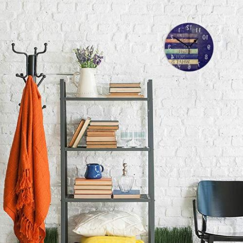 ALAZA Home Quote Book Round Acrylic Wall Non Ticking Clock for Room Bedroom